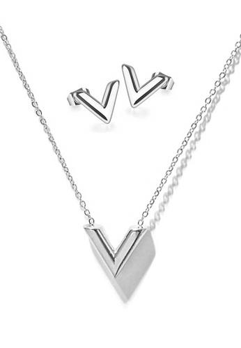 CELOVIS silver CELOVIS - Victoria Classic V Shape in Silver Necklace + Earrings Set D8F5CACA6F363FGS_1