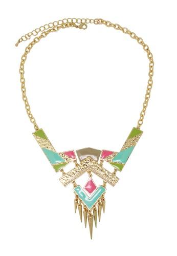 Jaysa Collection gold Modern Tribal Pastel Color Necklace JA875AC0F1YKSG_1