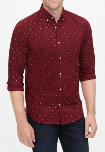 Gap red Poplin Shirt in Slim Fit 4B5EDAADB7F71DGS_1