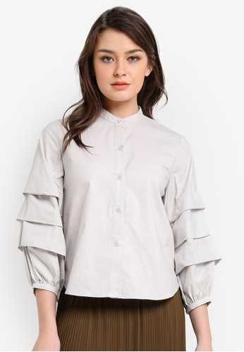 Zalia grey Tiered Sleeve Crop Shirt 230FCAA6F8AA8FGS_1