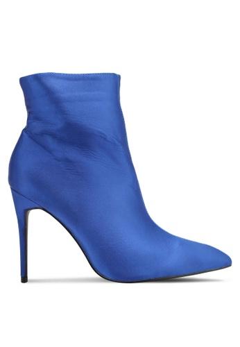Public Desire blue Porter Satin Point Toe Ankle Boots PU378SH0SIP1MY_1