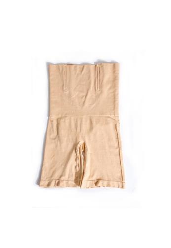 YSoCool beige High Waist Firm Control Shaping Shorts Underwear 9388AUSF19DE3BGS_1