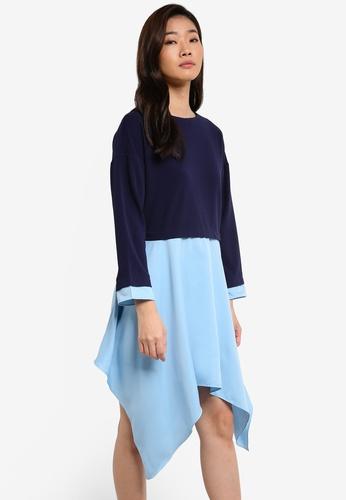ZALORA blue Contrast Shirting Asymmetric Dress 9FE0BAA3B8937AGS_1