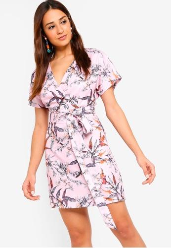 ZALORA pink and multi Wrap Dress 67BE1AA46D0756GS_1