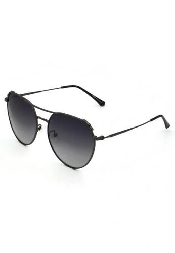 jojo grey Retro Aviator Brow Tip Frame Polarized Sunglasses F1BC5GLBCD1815GS_1