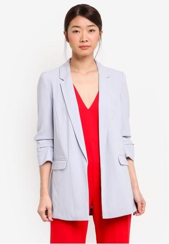 Miss Selfridge blue Ruched Sleeve Blazer F7782AAC277B54GS_1