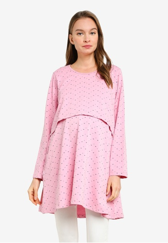 Aqeela Muslimah Wear pink Nursing Tunic Top A9DECAA55DF9CCGS_1