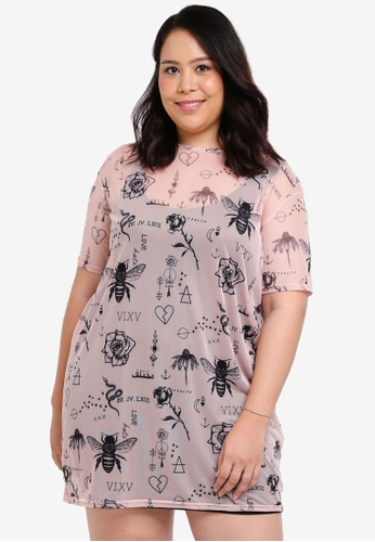 MISSGUIDED pink Plus Size Printed Mesh Tee Dress 3B1BBAAEA2132DGS_1