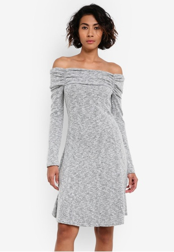 Dorothy Perkins grey Ruched Foldover Bardot Dress DO816AA0RV3OMY_1