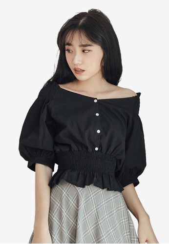 Tokichoi black Smocked Elbow Puff Sleeve Top 9A2A5AA5310104GS_1