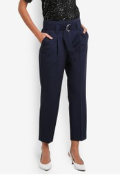 Dorothy Perkins navy Navy D-Ring Tapered Trousers DO816AA0S7BKMY_1