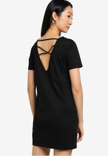 ZALORA BASICS 黑色 Cross Back T-Shirt Dress 4D901AA9B1EF08GS_1