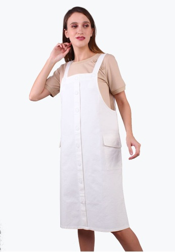 Elle white Dungaree Maxi Pockets Dress - O/White 368A1AAD4901A9GS_1