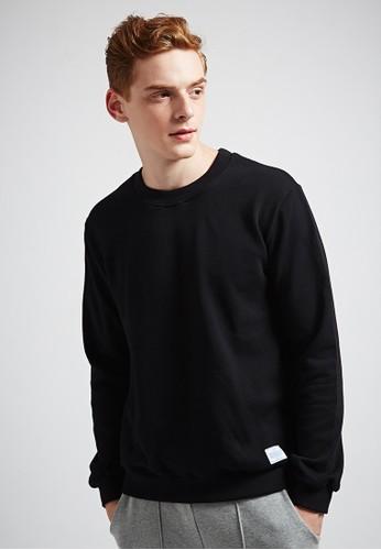 休閒百esprit outlet台北搭。高磅大絨。純棉大學圓領T-MIT-03692-黑色, 服飾, 長袖T恤