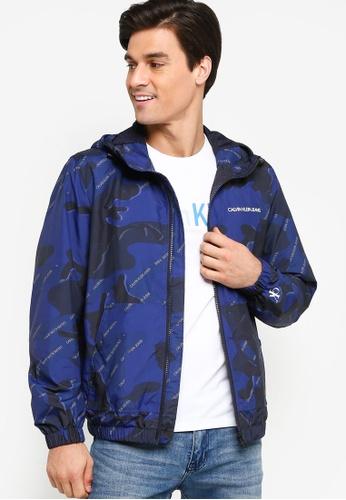 Calvin Klein navy A-Hooded Windbreaker - Calvin Klein Jeans AE65FAADF27564GS_1