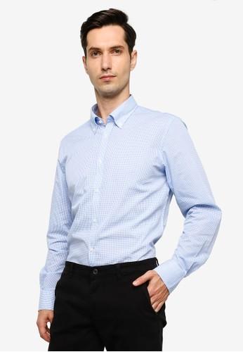 OVS blue Slim Fit Check Shirt 51686AACF34532GS_1