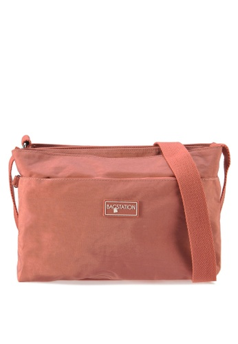 Bagstationz pink Crinkled Nylon Multi-Compartment Sling Bag F3B23AC2386F19GS_1