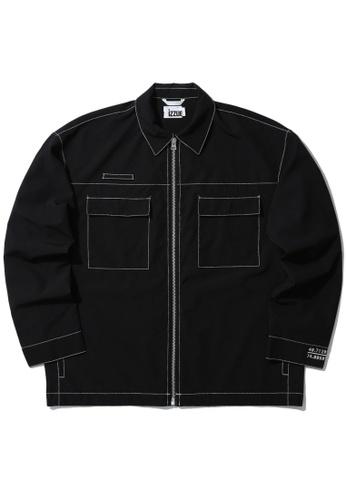 izzue black Zip worker jacket F0369AA6854701GS_1