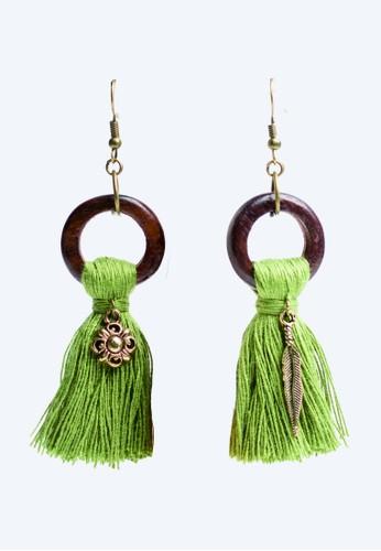 JOGLO AYU TENAN green JOGLO AYU TENAN Green Tassel Wooden Ring Earrings 77D88AC98095B6GS_1