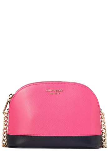 Kate Spade pink and navy Kate Spade Spencer Small Dome Crossbody Bag in Shocking Magenta Multi 52E70AC495220FGS_1