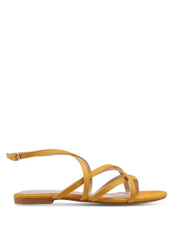 ZALORA 黃色 Strappy Sandals With Ankle Strap 12E9ESH841394AGS_1