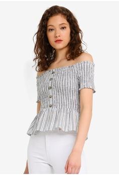 0ab769135c3b34 Miss Selfridge black Black Striped Shirred Bardot Top 59D4EAA0610286GS_1