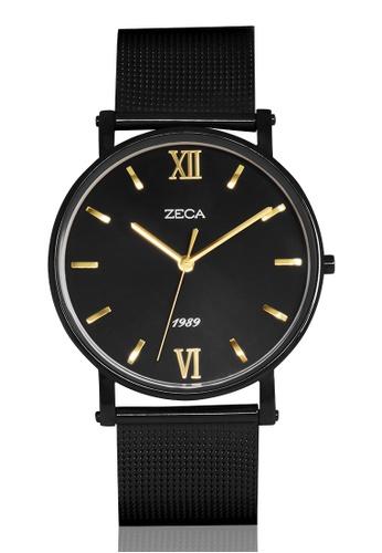 ZECA black and gold Zeca Watches Men Fashion Stainless Steel Analog - 2006M Black ZE260AC46SMJSG_1