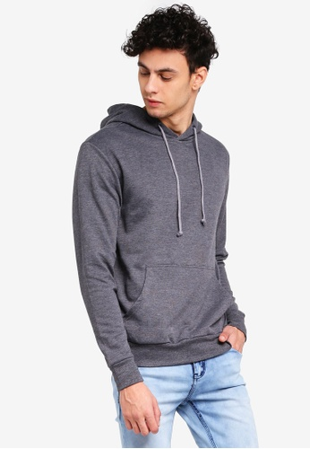 Penshoppe grey Relaxed Fit Hoodie With Pocket 3609AAA324DEF7GS_1