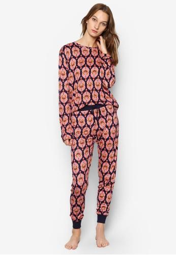 摩洛哥瓷磚印esprit香港門市花睡衣套裝, 服飾, 服飾
