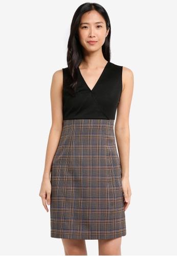 ZALORA black and multi V Neck Mix Fabric Dress 06056AA3D736BEGS_1