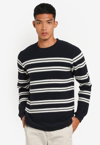 Selected Homme 藍色 長袖條紋針織衫 67075AA339B0F5GS_1
