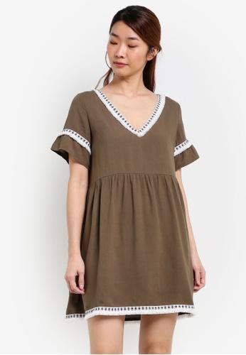 Something Borrowed green Fringe Trim Babydoll Dress 5D1DAAACD2AC3EGS_1