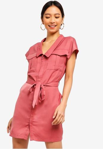 ZALORA pink Sleek Satin Utility Dress 8984DAAC948743GS_1