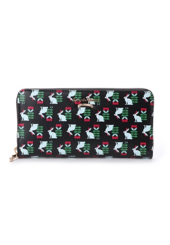 Samantha Thavasa black and red and green and blue and multi Samantha Thavasa Knock On Woods Zipper Long Wallet ADAABACB8A7CC9GS_1