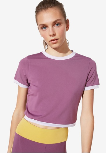Trendyol purple Contrast Sleeve Hem Cropped Top 58B7FAA98EBD6BGS_1