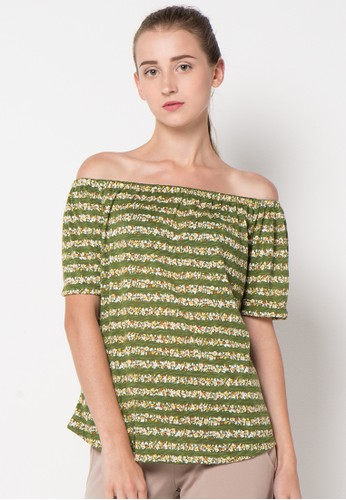 GRAPHIS green Off Shoulder Tops GR530AA40FCDID_1