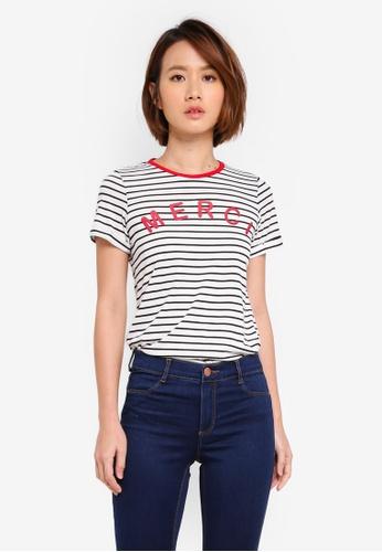 Dorothy Perkins white Ivory Striped Merci Motif T-Shirt 9C7CAAA5F5DD7AGS_1