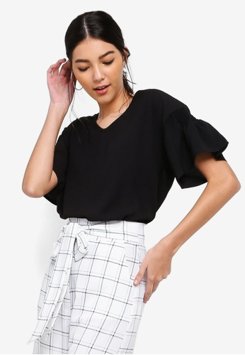 ZALORA black Ruched Sleeves Top 0A264AA22AF2F9GS_1