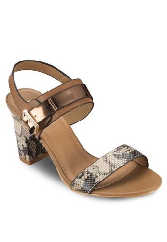 esprit outlet hk蛇紋一字帶繞踝高跟涼鞋, 女鞋, 鞋