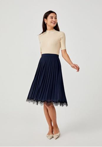 Love, Bonito blue Rebecca Lace Trim Pleated Midi Skirt 67E9FAA1B31DCDGS_1