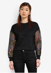 Something Borrowed black Embroidered Mesh Sleeve Sweater 99619AA5A9BB7FGS_1