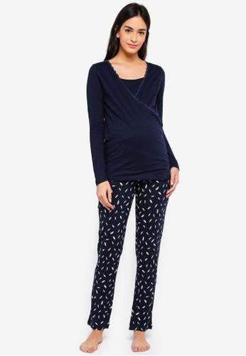 Mama.licious navy Maternity Chill Tess Jersey Pyjamas With Nursing Function. 1D5C0AA7BCC547GS_1