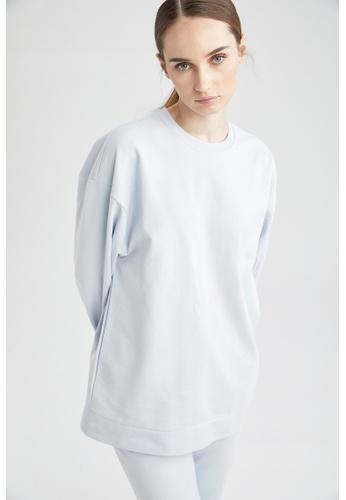 DeFacto blue Long Sleeve Cotton Sweat Tunic A6F0DAAD8ECE00GS_1