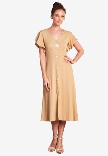 Nichii 米褐色 Ruffle Sleeves Solid Tee Dress 29FF7AA2814F50GS_1