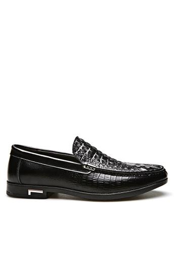 Twenty Eight Shoes black Crocodile Pattern Embossed Lather Loafer VMC26198 F38DDSH00FCBFDGS_1