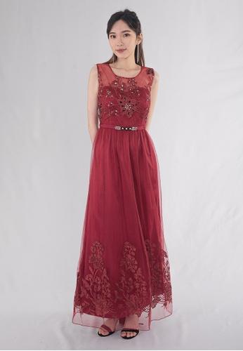 BEBEBUTTERFLY red BebeButterfly Round Neckline Sequined Sleeveless Long Maxi Gown Dinner Dress EE3A7AA605B7D4GS_1