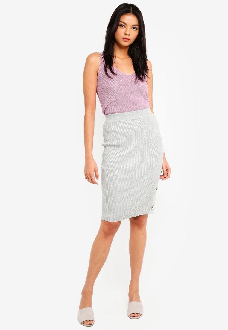 Selfridge Skirt Pencil Miss Grey Grey Knitted Button pfwBn4qnOd