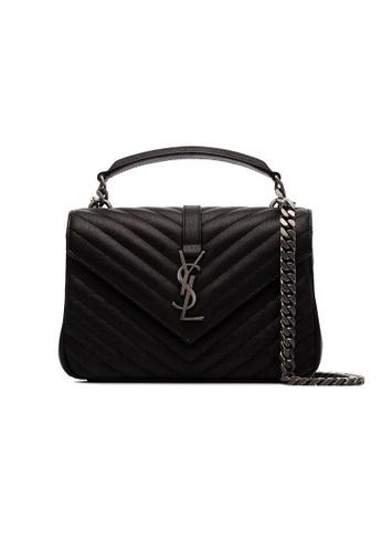 SAINT LAURENT black Yves Saint Laurent College Medium Shoulder Bag in Black/Silver A270CAC287F8ABGS_1