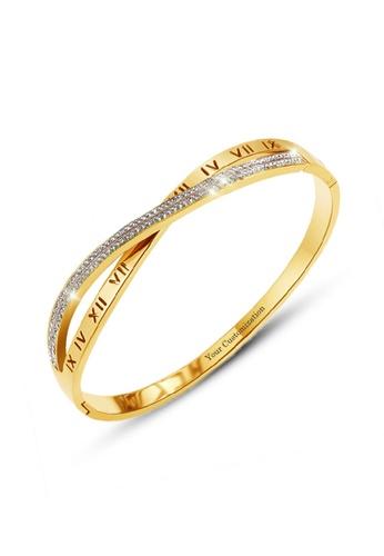 CELOVIS gold CELOVIS - Vera Roman Numeric Zirconia Cross Bangle in Gold F5594AC65D4D3EGS_1