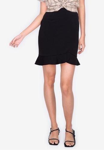 ZALORA BASICS black Ruffle Hem Mini Skirt CB023AA725CD0AGS_1